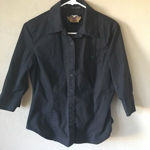 Harley Davidson 3/4 Sleeve Full Button Shirt. Sz M